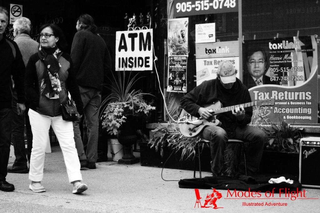 guitarist performer street photography